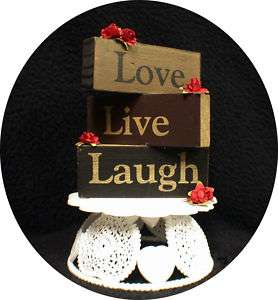 LIVE LOVE LAUGH Wedding Cake topper Wood Words red Rose