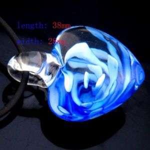 G3492 love blue heart murano lampwork glass pendant