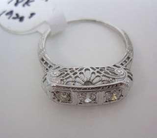 ANTIQUE VINTAGE 1920S 18K WHITE GOLD ART DECO FILIGREE 3 LARGE DIAMOND