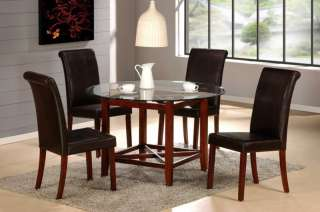 5PC BEYOND ROUND GLASS TOP CHERRY WOOD DINING TABLE SET