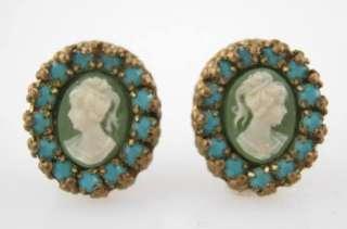 MICHAEL NEGRIN Green Cameo Earrings & Ring Set