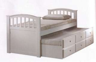 White finish wood Twin bed with pull out trundle bed with storage
