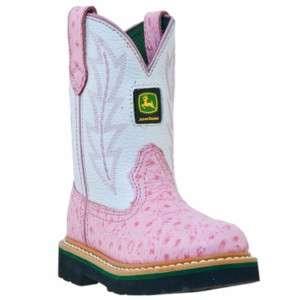 John Deere Ostrich Print Girls Cowboy Boots Size 8.5 3D