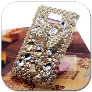 Gold 3D BLING Crystal Gem Hard Skin Case Back Cover For Sprint HTC EVO