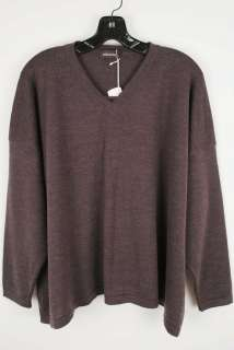 Eskandar taupe merino wool v neck sweater. Great cool brown with a