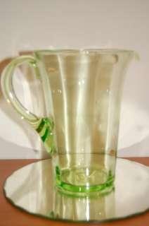 VINTAGE VASELINE URANIUM GLASS PITCHER JUG c1910