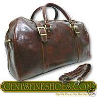 ITALIAN LEATHER TRAVEL DUFFLE BAG LUGGAGE BROWN 4041