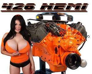 CAR T SHIRT 426 HEMI BIG BLOCK MOPAR RACING ENGINE SEXY PINUP GIRL