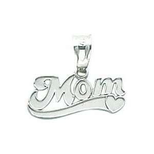 14K White Gold Mom Ribbon Heart Pendant Jewelry
