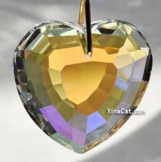 Huge 45mm Crystal AB Facet Heart Prism Valentines Day