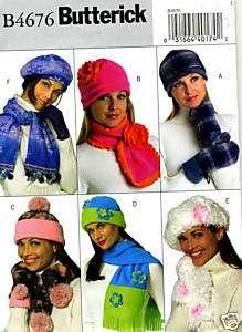 Miss S M L Hats Scarves Mittens Pattern Butterick 4676