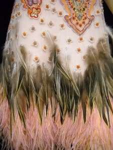 NWT ANGEL SANCHEZ Pink Feather Beaded Dress 4 $4680
