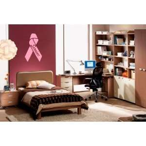 Wall Decal Sticker Breast Cancer Survivor Ribbon  Soft Pink Color