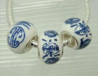 10pcs Blue Porcelain Ceramic European Beads Silver Core Fit Charm