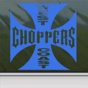 West Coast Choppers Blue Decal Wide Giant Window Blue