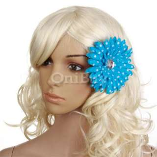 Baby & Women Rhinestone Daisy Flower Hair Clip w/ Dots