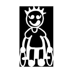 Wheelchair Boy Stick Figure Family stick em up White vinyl