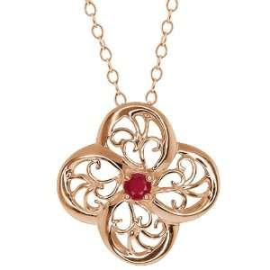 0.80 Ct Round Red Ruby 14k Rose Gold Pendant Jewelry