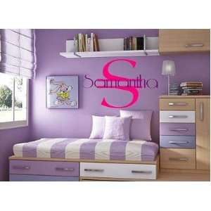 Wall Decal Kids Room Decal/Sticker Initial Color black Name Color blue