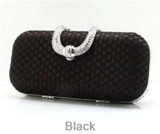 BLACK Satin Diamante Rhinestone Clip Evening Cocktail Hard Clutch
