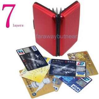pocket Aluminum ID Card Holder Credit Card Wallet RFID protecto red