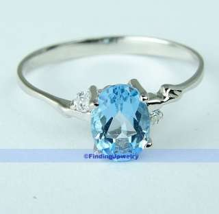 Fancy 1CT Oval Swiss Blue Topaz Silver Ring Size 7