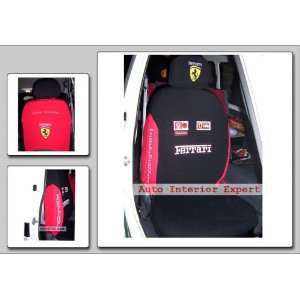 10PCS F1 FERRARI UNIVERSAL CAR SEAT COVER SET BLACK O03