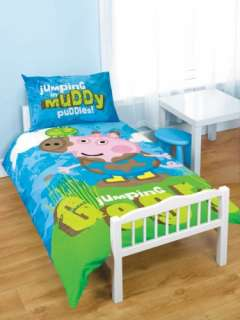 GEORGE PIG PEPPA PUDDLES JUNIOR BEDDING DUVET COVER SET