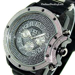 ICED OUT MENS SILVER/BLACK ICE NATION HIP HOP BLING SILICONE WATCH