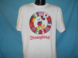 vintage DISNEYLAND MICKEY MOUSE FLAGS WHITE t shirt XL