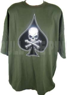 OLIVE DRAB BLACK SPADE DEATH T SHIRT SM 3XL