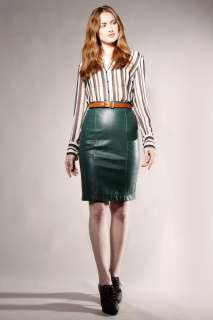WAISTED LEATHER PENCIL SKIRT Vtg 80s Green Dyed Bandage Dress Tight