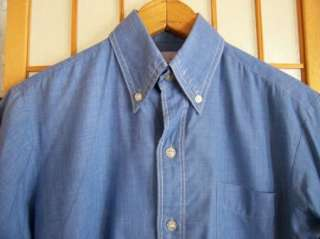 Vtg 1960s Alumni SANFORIZED BLUE CHAMBRAY BUTTON COLLAR CASUAL SHIRT