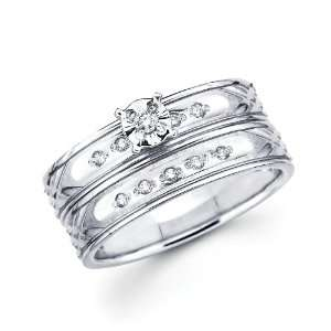 Womens Engagement Ring Wedding Band Bridal Wedding Set (1/8 ctw., GH