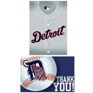 Lets Party By Amscan Detroit Tigers Baseball   Invite & Thank You