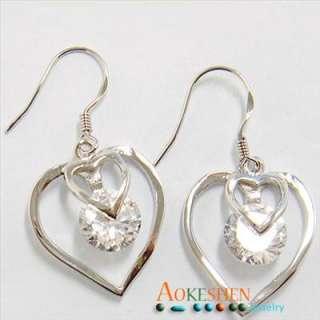 2pcs 925 Sterling Silver earrings charm jewelry beads Double HEART