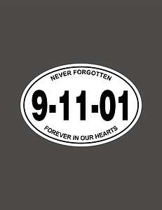 11 01 FDNY Firefighter EMS Never Forget WHITE OVAL decal sticker