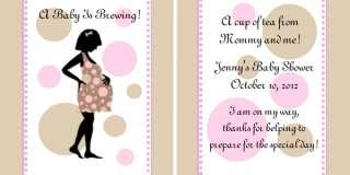 Brown Polka Dot Mod Mom Baby Shower Tea Bag Favors Set of 12