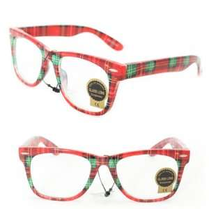Wayfarer Fashion Sunglasses 1888 Red Checker Plastic Frame Clear Lens