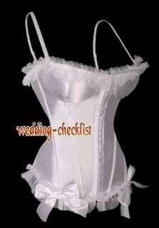 Sexy White Lace Ruffle CORSET French Ribbon Bustier Size L g5605_w