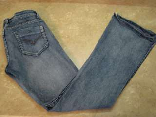 WET SEAL Dark STRETCH FLARE JEANS Distressed 7/8 R