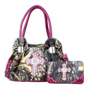 Western Fuschia Camouflage Camo Cross Purse Handbag w Wallet