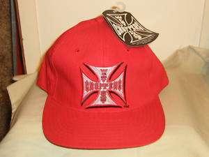 WEST COAST CHOPPER JESSE JAMES IRON CROSS RED HAT CAP