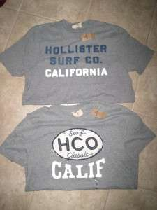 NWT Hollister Mens 2 M SO CAL SURF CALIFORNIA LOGO Gray Graphic Tee SS