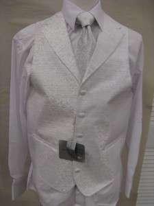 Mens Suit Tuxedo Dress Vest Necktie Bowtie Hanky Set White Paisley