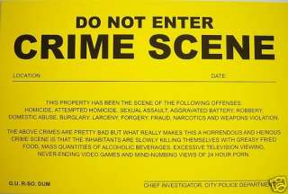 PRANK NOTICE  ( Crime Scene ) Novelty Sign^