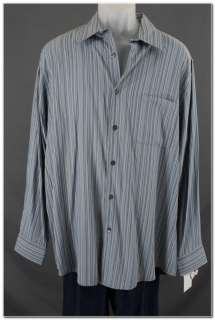 Alfani Blue Striped Button Up Mens Dress Shirt szL New Modal