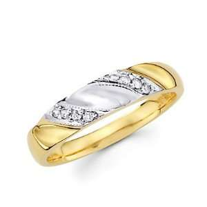 14k Yellow White Gold Wedding Match Ring Band (G H Color, SI2 Clarity