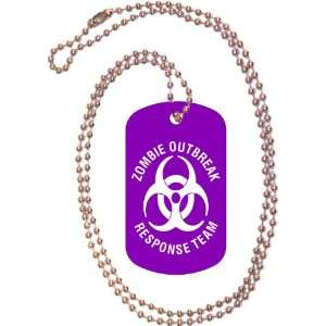 Zombie Outbreak Response Team Purple Dog Tag with Neck