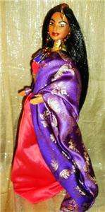 Beauty of India purple and pink saree / sari barbie doll ooak